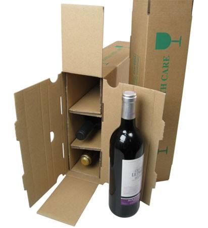 Merkloos Wijnverzenddoos voor 3 flessen, karton, 380 mm hoog