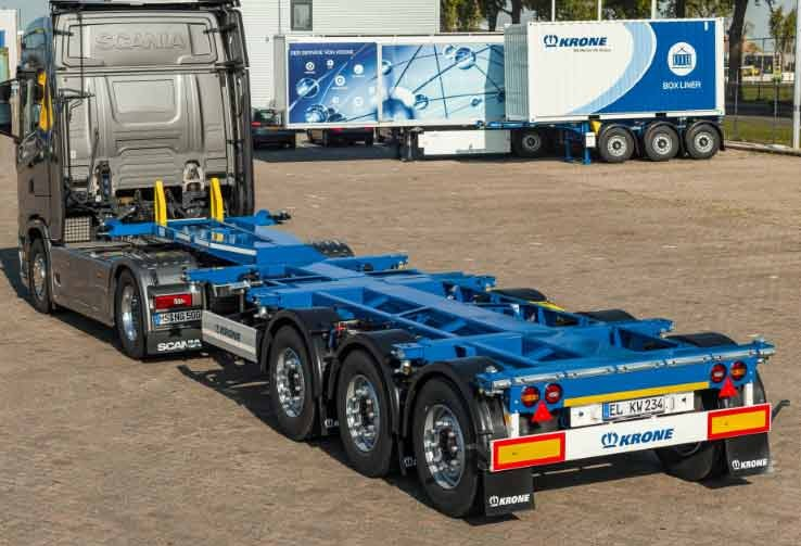 Krone Box Liner SDC27 eLTU70 mit Compact-Heck Containerchassis