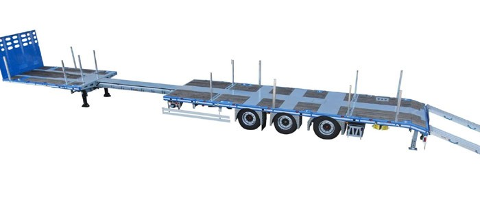 Rino ME45-03 ST — 3-achsiger ausziehbarer Mega-Maschinenauflieger