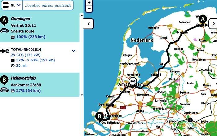 ANWB breidt routeplanner uit met versie voor elektrische auto